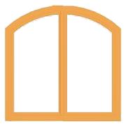 Tok íves kétszárnyú ablak